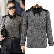 NWT WOMENS CELEBRITY KNITTED BLOUSE RETRO COLLARED BLOUSE ZIPPER WINTER TOP `
