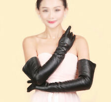 Women Fashion Long Genuine Leather Winter Elbow Opera Evening Gloves Silk Lining