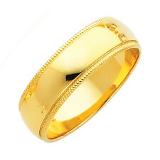 14K Milgrain Solid Yellow Gold Classic Comfort Fit Promise Ring 6MM Wedding Band