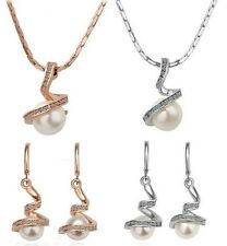 18K Gold Plated Crystal Rhinestone Pearl Earring & Necklace Pendant Chain Set