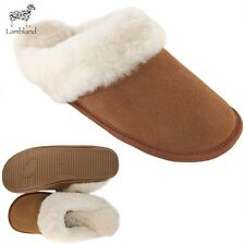 Ladies 100% Genuine Sheepskin Mules Slippers with Hard Wearing Sole
