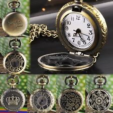 Hot Fashion Vintage Retro Bronze Quartz Pocket Watch Pendant Chain Necklace