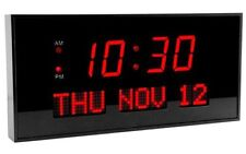 DBTech Big Digital LED Calendar Clock with Day & Date - Shelf or Wall Mount