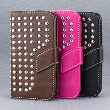 Leather Studded Stand Wallet Pouch Case Cover For Samsung Galaxy SIII S3 I9300