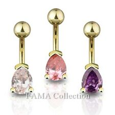 Fancy FAMA 14kt Gold Plated Navel Belly Ring with Tear Drop CZ