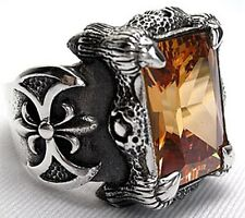 HUGE IMPERIAL TOPAZ CLAW & AXE DRAGON 925 STERLING SILVER MENS RING Sz 6.5-16.5