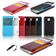 HOUSSE COQUE ETUI CUIR VIEW POUR SMARTPHONE SAMSUNG ET IPHONE + FILM + STYLET