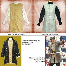 Gentlemans Sleeveless Long Vest - Gold or Silver. Perfect For Stage Costume LARP