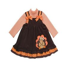 Rare Editions Girl 2T-4T Thanksgiving Turkey Dress Brown Boutique Jumper Outfit