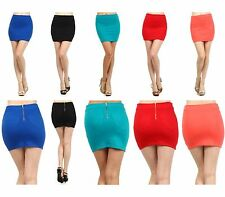 Sexy Zippered Solid Colors Straight Fitted Pencil Bodycon Stretchy Mini Skirts