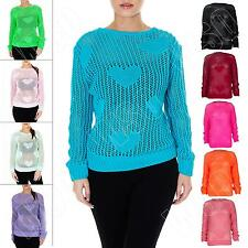 New Ladies Womens Fishnet Crochet Heart Knitted Sexy Jumper Top Size S M L XL 8