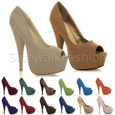 WOMENS LADIES PLATFORM PUMPS STILETTO HIGH HEEL PEEP TOE PARTY COURT SHOES SIZE