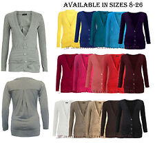 Womens Ladies Button Up Boyfriend Cardigan Top Long Sleeve Cardigan Jumper 8-26