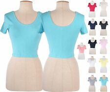 Sexy Women Scoop Neck and Back Fitted Crop Top Short Sleeve Stretchy Tee Shirt