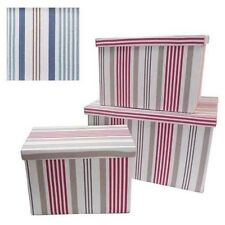 PRETTY RED OR BLUE STRIPED FABRIC STORAGE BOXES STORAGE BASKETS WITH LIDS