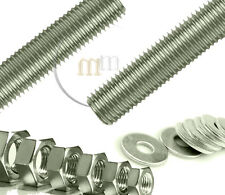 1 Metre Threaded Bar A2 STAINLESS STEEL Threaded Steel Bar WITH NUTS & WASHERS
