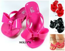 Girls Kids Summer Jelly Ribbon Bow Flip Flop Flat Sandals Shoes Pink, Black, Red
