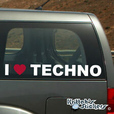 I RED HEART TECHNO Vinyl Decal - fits car or window sticker love music rave K476