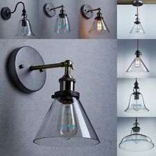 Vintage Nordic Concise Style Clear Glass Household Pendant Light Bed Wall Lamp