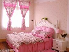 Leopard Print Bedding Set With Bedspread Bowknot PINK Animal (Whole Set)