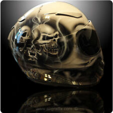 Custom Painted Smoking Skull Helmet 3 Helmet options Z1R, Icon, Shoei