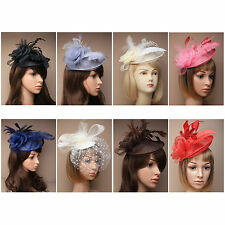Ladies Hat Fascinators Alice Band Black Ivory Silver Navy Wedding Ascot Prom New