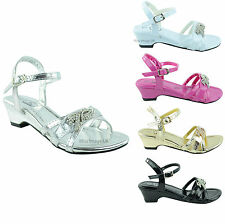 GIRLS INFANTS CHILDRENS DIAMANTE STRAPPY SUMMER PARTY LOW FLAT HEEL SANDALS SHOE