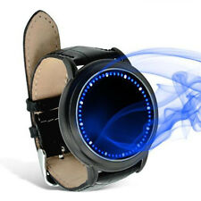 New Blue LED Leather Digital Touch Screen Colorful Date Mens Sport Watch Gift WA