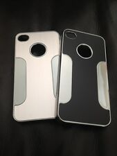 Brushed Silver / Black Aluminium Cover Case Fits Apple iPhone 4 4S Uk Seller