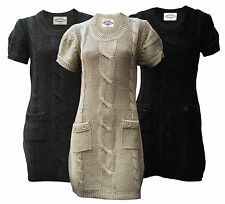 Womens Ladies Short Sleeved Chunky Cable Knit Jumper Dress Tunic With Pockets
