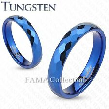 Trendy FAMA 4mm TUNGSTEN Blue IP Multi-Faceted Prism Cut Band Ring Size 5-12
