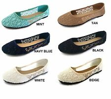 Womens Ballet Lace Mesh Flat Slip On Shoes Casual Dress Low Heel Ladies Crochet