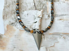 Magnetic Hematite Arrow BROWN TIGER EYE Pendant Necklace Healing Strong FreeShip