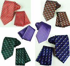Men's Neck tie and & Pocket Square Hankie Set Formal Party Wedding Prom Plaid