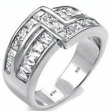 Sterling Silver Mens Luxury Simulated Diamonds Wedding Engagement Band Ring