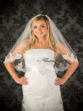 "Elbow Length Bridal Veil 1-Layer 25"" Long Lace Edge By Illusions Bridal Veils"