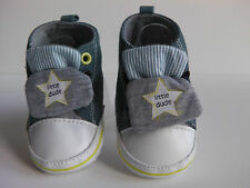 Baby Boys Pre-Walker Pram Sneakers. 'Little Dude' Blue Denim look.