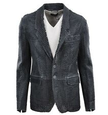 DOLCE & GABBANA RUNWAY Net Leather Jacket Grey Veste en Cuir Gris 02134