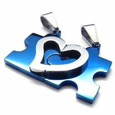 His and Hers Stainless Steel Matching Puzzle Love Heart Couple Pendant Necklaces
