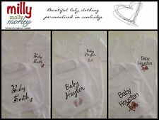 PERSONALISED Unisex monkey, bee or feet baby clothing, babygrow/sleepsuit & bib
