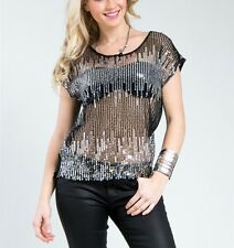 Sparkling Sequin Black Chiffon Short Sleeve Party Night Fashion Top Blouse Shop