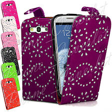 PU Leather Diamond Bling Flip Phone Case Cover For Samsung Galaxy S3 III i9300