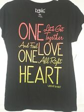 Womans Lyric Nation Top Black Bob Marley One Love One Heart NWT Capped S/S 2XL
