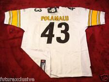 #43 TROY POLAMALU STEELERS WHITE NFL SEWN JERSEY - CHOOSE SIZE