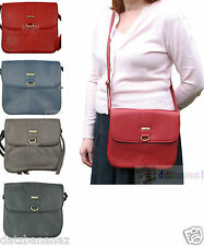 Ladies Faux Leather Messenger Style Cross Body Shoulder Bag black navy brown red