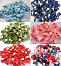 50 CUTE RIBBON ROSE BOWS SATIN APPLIQUE EMBELLISHMENT CRAFT ARTIFICIAL WEDDING