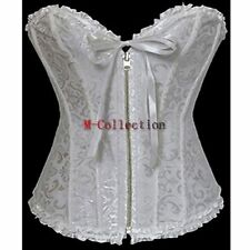 White Classical Satin Lace Up Zipper Corset Top Basque Wedding Dress/Party Gown