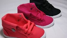 NEW KIDS Girls Lace Up Canvas Sneakers Shoes In Coral Black & Pink ALL Sizes