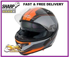 Stealth HD117 KTM Orange Neon Full Face Motorcycle Motorbike Helmet ECE ACU Gold