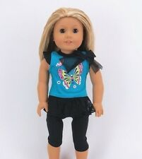 """Doll Clothes AG 18"""" Leggings Top Butterfly Made To Fit  American Girl Dolls"""
